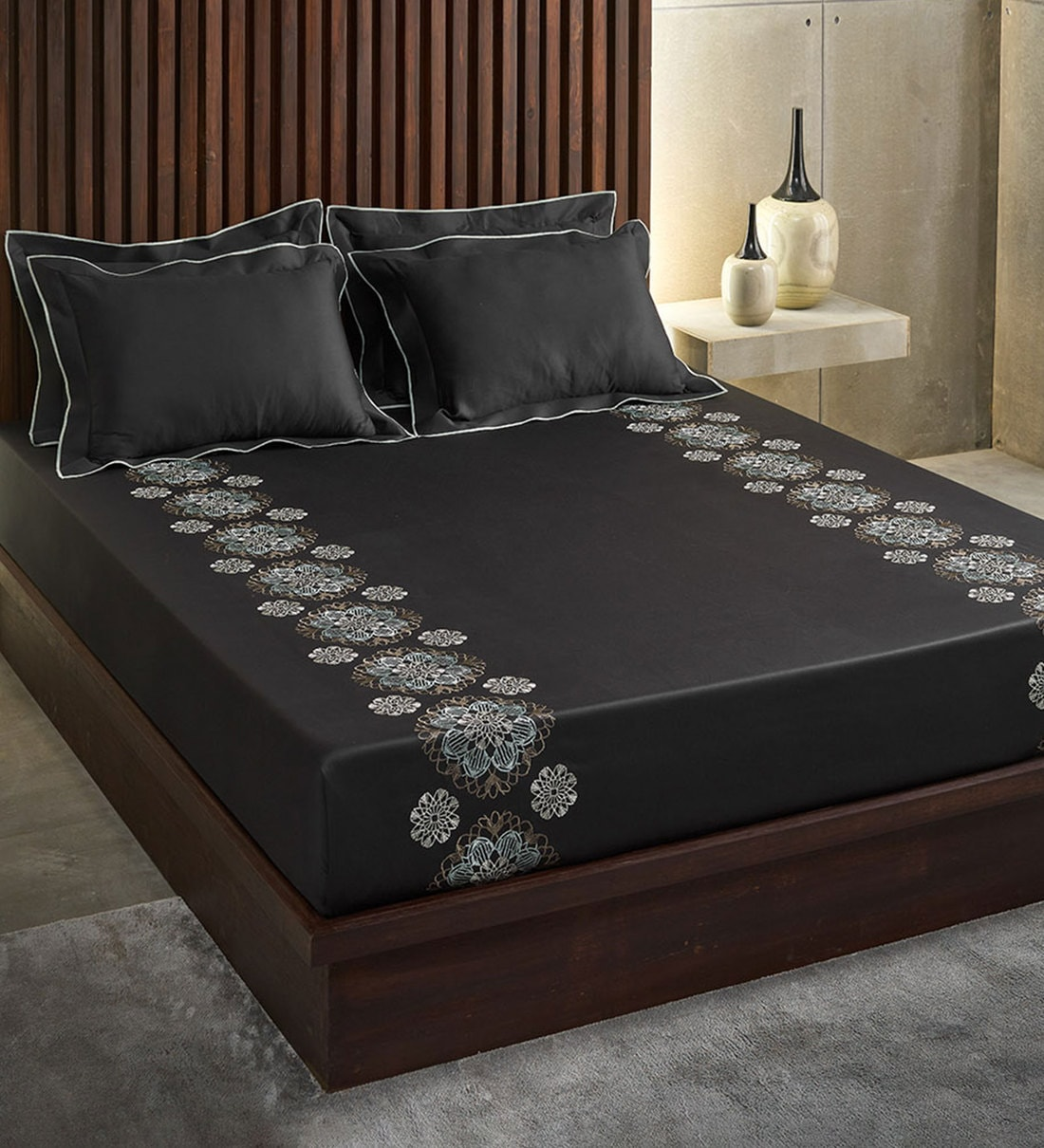 Buy Eternity Ebony 100 Cotton 210tc Embroidered Double Bedsheet With 2 Pillow Covers Online Abstract Double Bed Sheets Bed Sheets Furnishings Pepperfry Product
