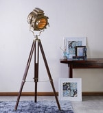 Sheesham Wood And Brass Finish Tripod Floor Lamp