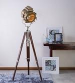 Sheesham Wood And Brass Finish Tripod Floor Lamp