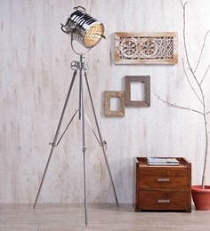 Ethnic Roots Nickel Finish Tripod Floor Lamp 12.5 Nickel Silver Ethnic Roots at pepperfry