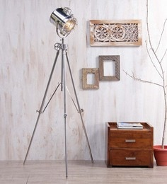 Ethnic Roots Silver Nickel Finish Steel Tripod Floor Lamp at pepperfry
