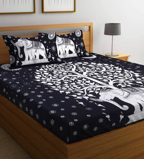 Buy Ethnic 160 Tc King Size Bed Sheet With 2 Pillow Covers By Rajasthan Decor Online Ethnic Motifs King Size Bed Sheets King Size Bed Sheets