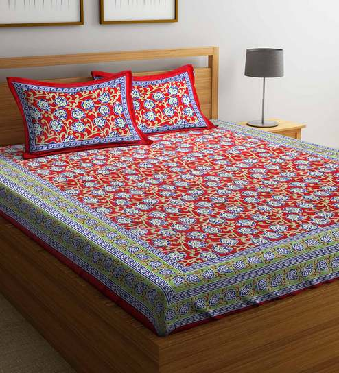 3994c02f480 Buy Ethnic 160 TC King Size Bed Sheet with 2 Pillow covers by Rajasthan  Decor Online - Ethnic Motifs King Size Bed Sheets - King Size Bed Sheets ...