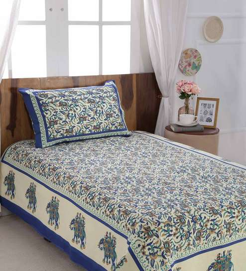 Buy Ethnic Motif 120 TC Cotton Single Size Bed Sheet With 2 Pillow Covers  By SleepDove Online   Ethnic Motifs Single Bed Sheets   Single Bed Sheets  ...