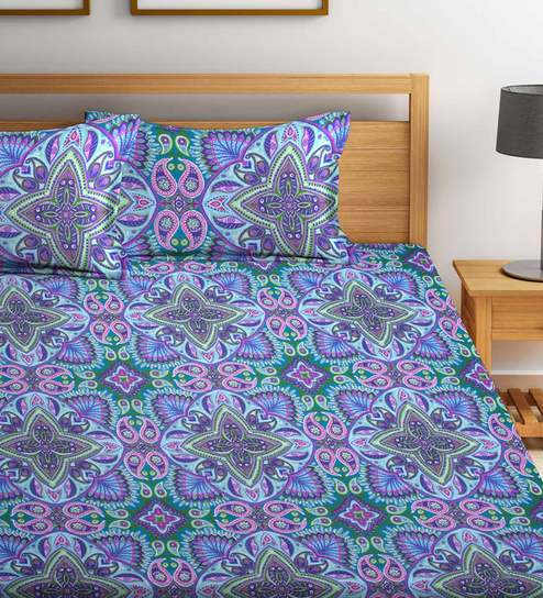 Ethnic Motif 180 TC 100% Cotton King Size Bedsheet With 2 Pillow Covers By  Bombay