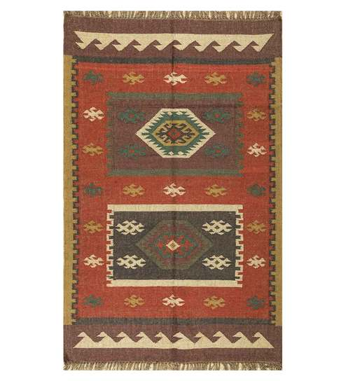 Ethnic Motif Jute 8x10 Feet Hand Woven Flat Carpet By Jaipur Rugs