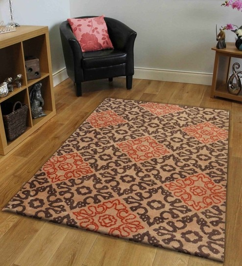 Ethnic Motif Polyester 5 X 3 Feet Hand Tufted Carpet By Presto