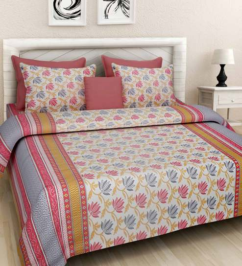 Ethnic Motif 144TC Cotton King Size Bed Sheet With 2 Pillow Covers By  Rajasthan Decor