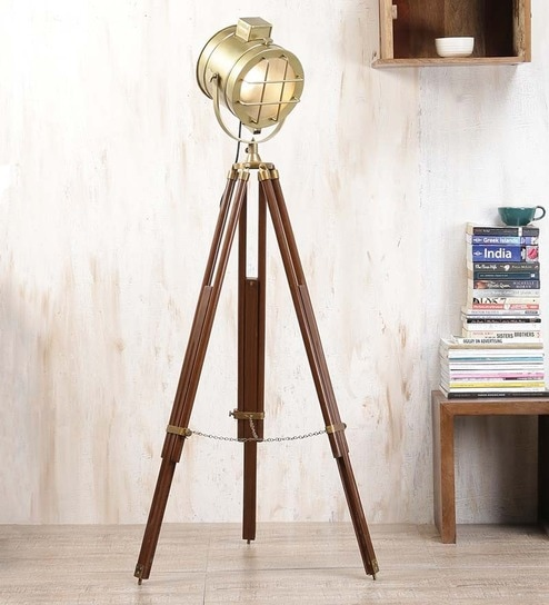 Buy Brass Floor Lamp: Buy Brown Brass Finish Mango Wood Tripod Floor Lamp By