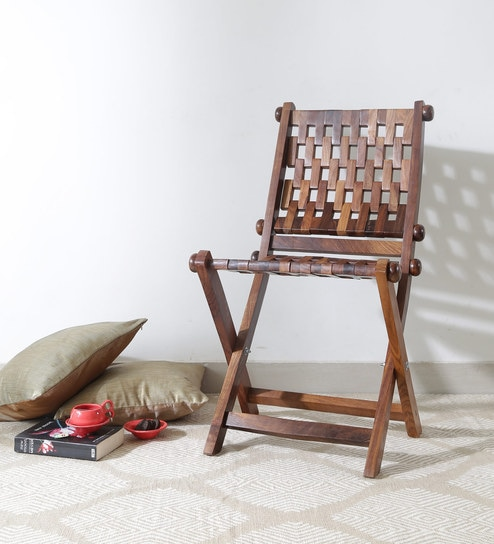Ethnic Wooden Foldable Chair In Walnut Finish By VarEsha
