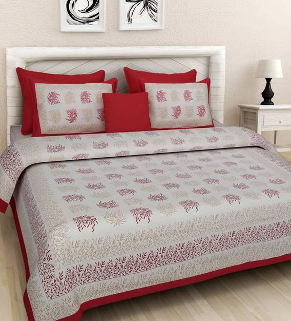 144 TC 100/% Cotton Double Bedsheet with 2 Pillow White and Grey