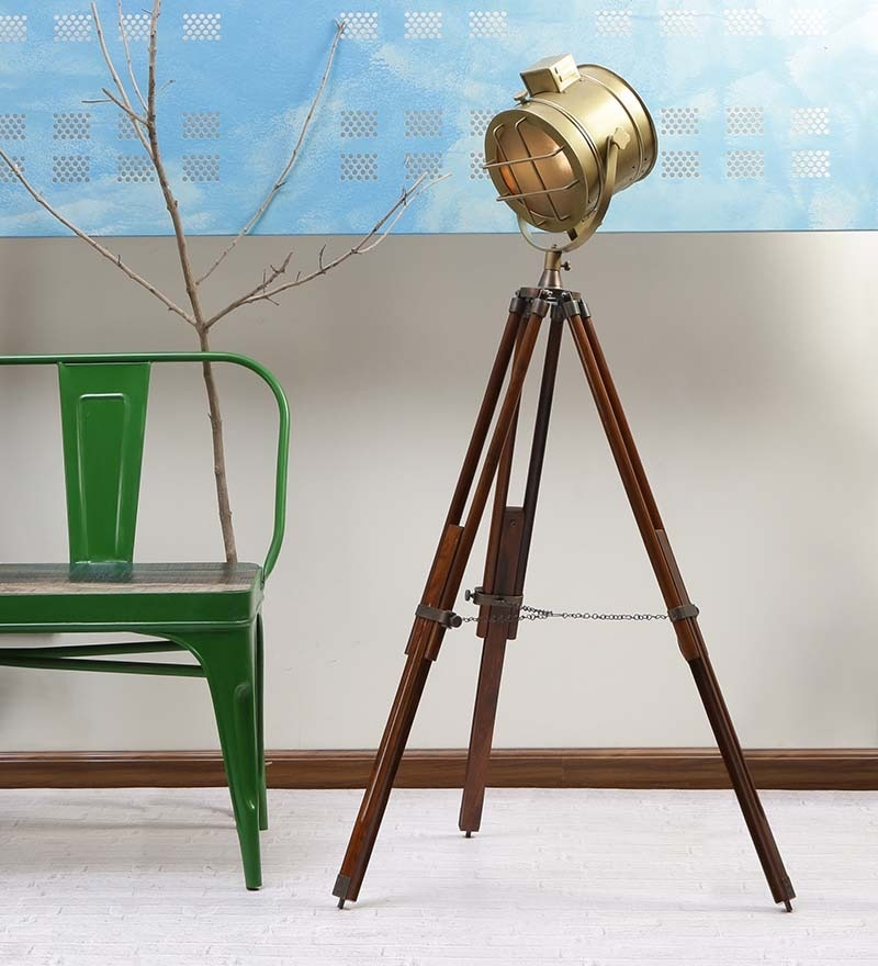 Antique Brown Mango Wood Tripod Floor Lamp by Ethnic Roots