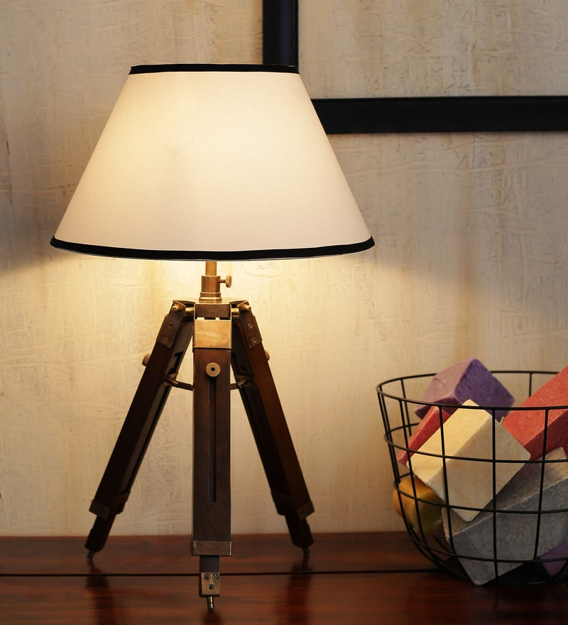 Mango Wood And White Color Tripod Table Lamp by Ethnic Roots