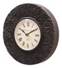 Brown MDF & Metal 10 Inch Round Block Design Handmade Wall Clock by Ethnic Clock Makers