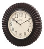 Ethnic Clock Makers Brown MDF & Metal 16 Inch Round Emboss Painting Multicolor Handmade Wall Clock