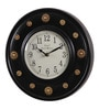 Brown Metal & MDF 12 Inch Round Brass Flower Fit Wall Clock by Ethnic Clock Makers