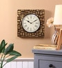 Brown Metal & MDF 12 x 1.5 x 12 Inch Block Brass Fit Wall Clock by Ethnic Clock Makers