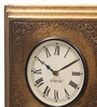 Gold MDF & Metal 12 Inch Round Brass Fit Handmade Wall Clock by Ethnic Clock Makers