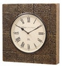 Ethnic Clock Makers Gold MDF & Metal 16 Inch Round Emboss Painted Multicolor Handmade Wall Clock
