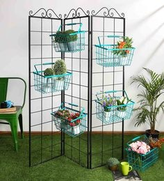 Eurostar Mild Steel Metal Folding Wall With Green Baskets - Set Of 6