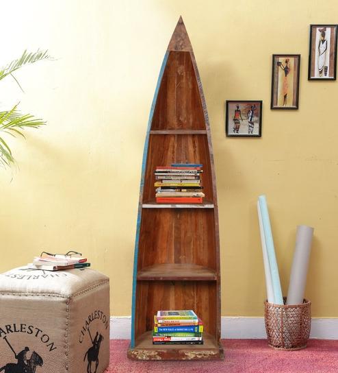 Buy Eugene Bookshelf In Distress Finish By Bohemiana Wooden Boat Shelves Wood Shelf