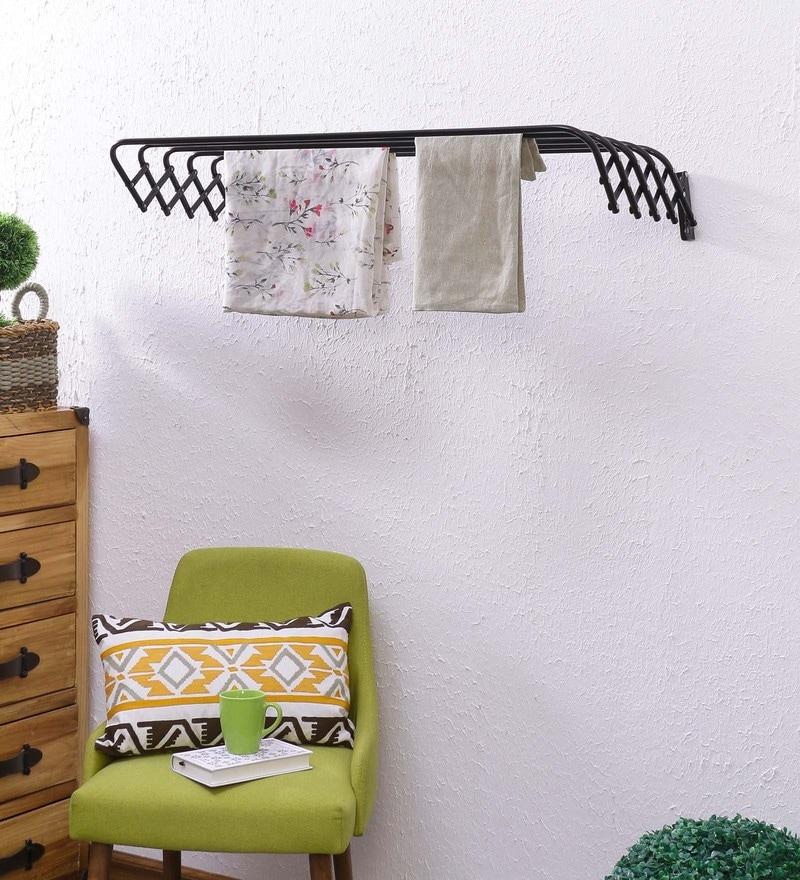 Eurostar Mild Steel Black Wall Mounted Cloth Drying Stand Hanger 100 cm