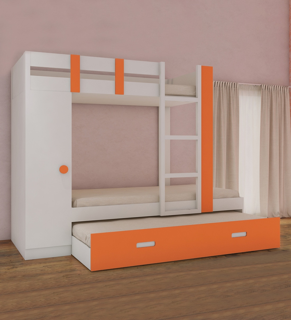 Buy Evita Twin Bunk Bed With Trundle Pullout Cum Wardrobe In Light Orange Colour By Adona Online Trundle Bunk Beds Bunk Beds Kids Furniture Pepperfry Product