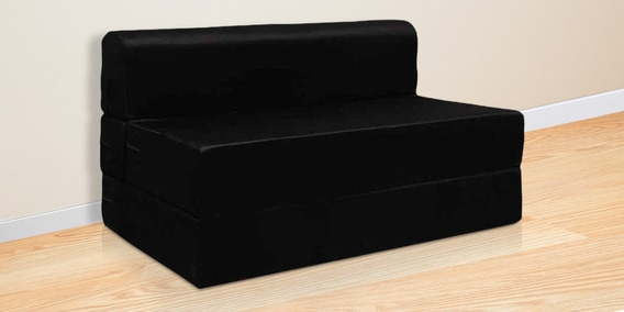 Everlasting Series 4 Feet Cly Sofa Bed In Black Colour By Rvf