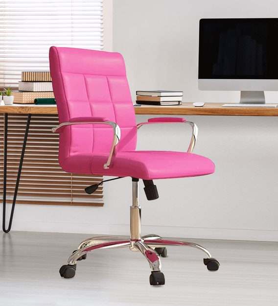 Buy Eva Executive Office Chair Pink Colour By Furniturstation Online Mid Back Ergonomic Chairs Chairs Furniture Pepperfry Product