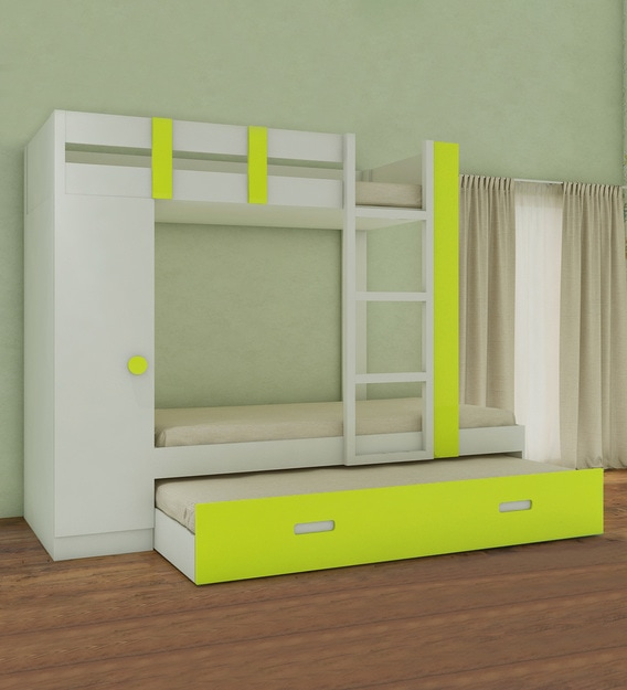 Buy Evita Twin Bunk Bed With Trundle Pullout Cum Wardrobe In Lime Yellow Colour By Adona Online Trundle Bunk Beds Bunk Beds Kids Furniture Pepperfry Product