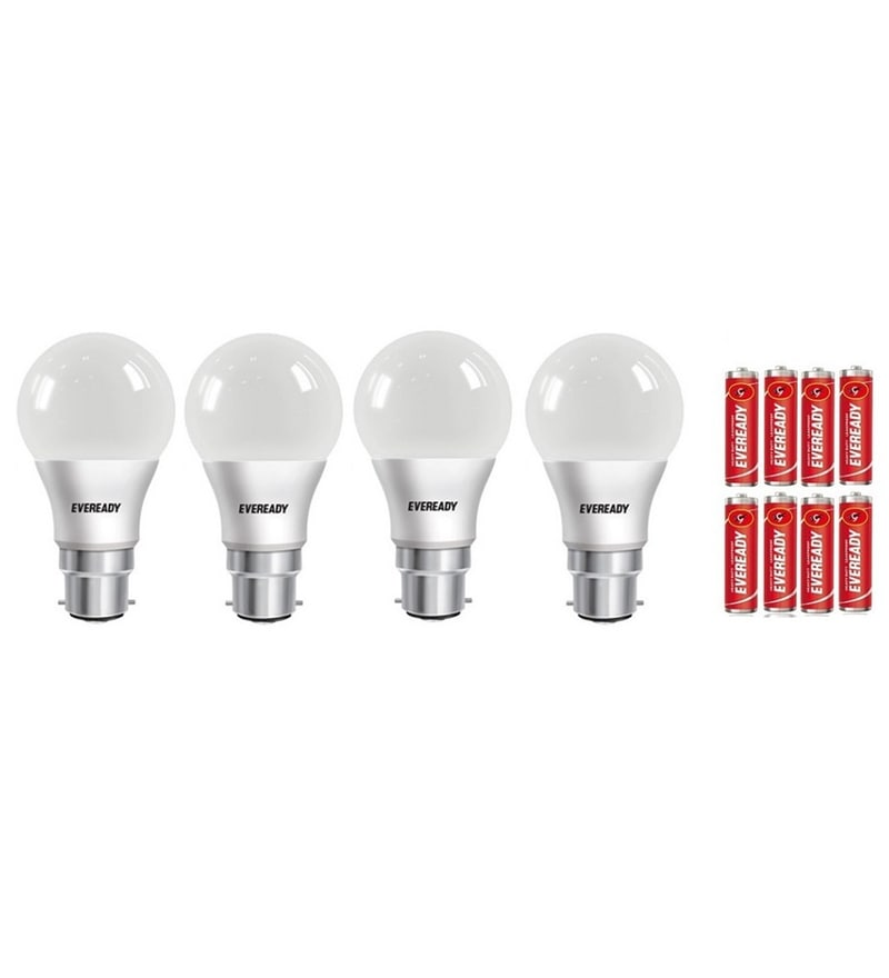 Eveready 6500K Cool White 9-Watt Led Bulbs - Set of 4 with 8 Batteries