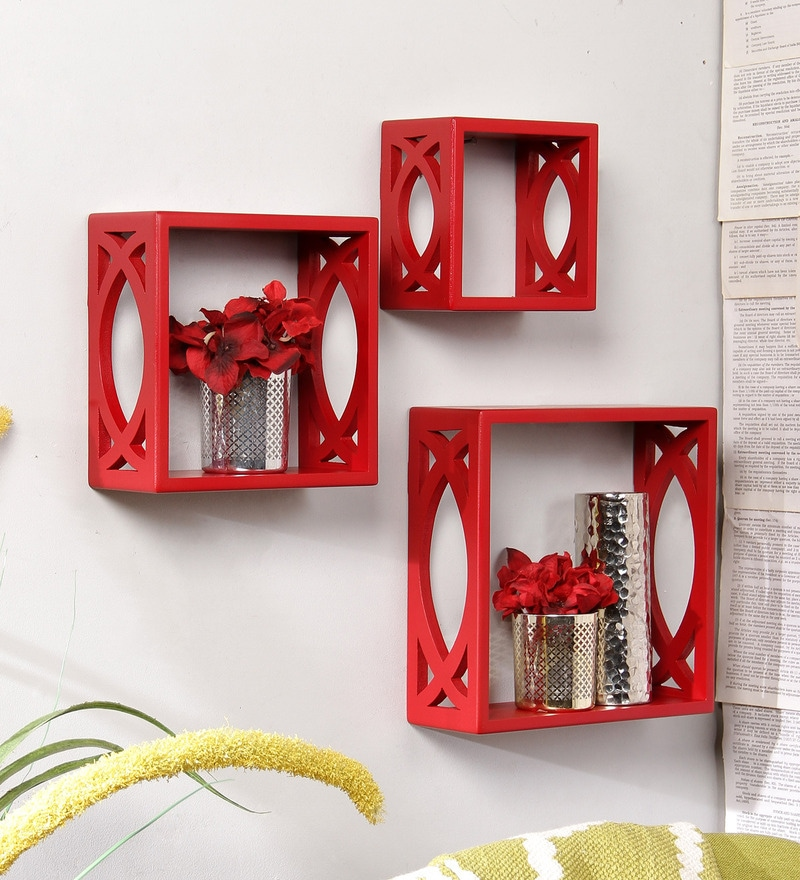 Red Engineered Wood Stylishly Cut Wall Shelf - Set of 3 by Home Sparkle
