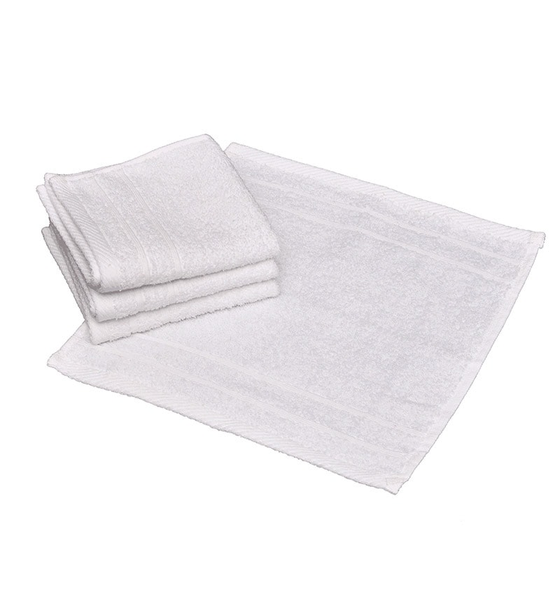 Avira Home White Cotton Face Towel - Set of 4
