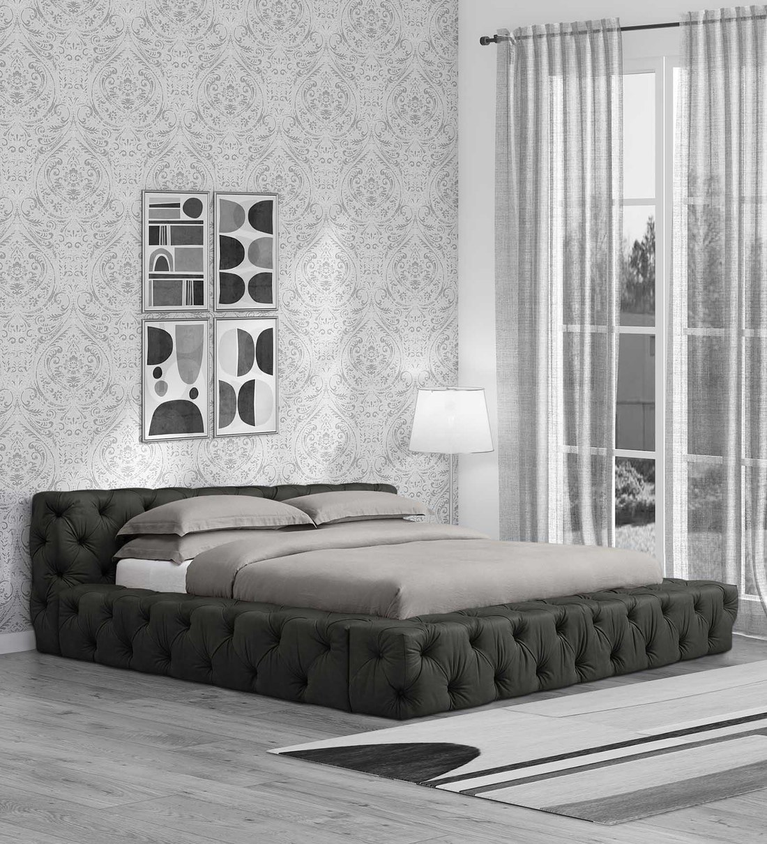 Buy Exquisite King Size Upholstered Bed In Dark Grey Colour By Dreamzz Furniture Online King Size Upholstered Beds Beds Furniture Pepperfry Product