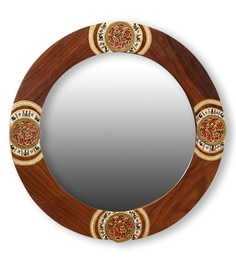 ExclusiveLane Brown Sheesham Wood Round Ethnic Warli And Dhokra Art Wall Mirror