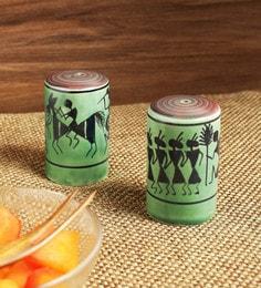 Exclusivelane Dancers On Shakers Warli Hand-Painted Ceramic Salt & Pepper Storage - Set Of 2 - 1669037