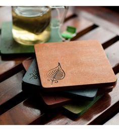 ExclusiveLane Elegant Leaf Engraved Multicolour Recycled Wood Coasters - Set Of 5