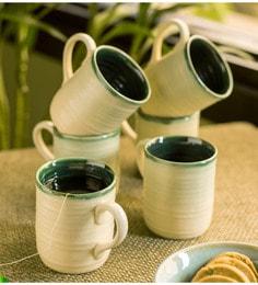 Exclusivelane Jade Translucence Ceramic Tea & Coffee Cups - Set Of 6