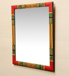 ExclusiveLane Multicolour Pine Wood Ethnic Warli Art Wall Mirror