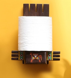 Exclusivelane Natural Dark Brown Teak Wood 5.5 X 3.5 X 7 Inch Vibrantly Warli Cross Joint Hand-Painted Toilet Paper Holder