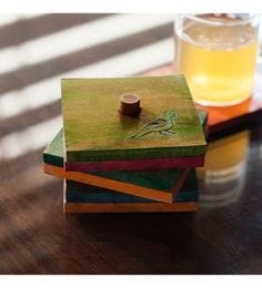 ExclusiveLane Parrot Carving Multicolour Steam Beech Wood Coasters - Set Of 7