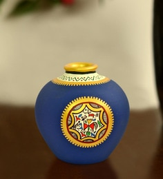 ExclusiveLane Blue Terracotta Warli Hand-Painted Matki Vase