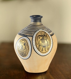 ExclusiveLane Golden & Black Terracotta Warli Hand-Painted Matki Vase