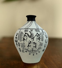 ExclusiveLane White Terracotta Warli Hand-Painted Matki Vase