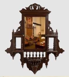 ExclusiveLane Walnut Teak Wood Maharaja Wall Mirror Wall Mirror