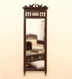Walnut Teak Wood Royal Dhokra Work Wall Mirror