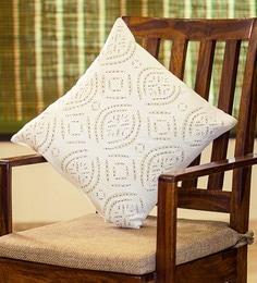 Exclusivelane White Cotton 16 X 16 Inch Applique Art Cushion Cover