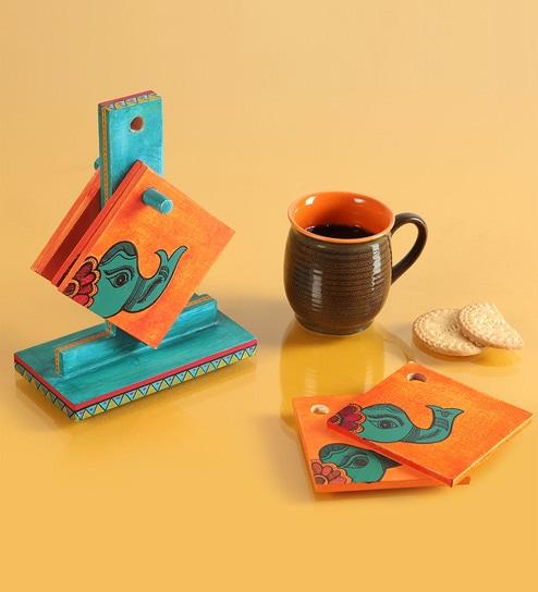 Exclusivelane Elephants On Orange Wooden Coasters With Stand - Set Of 7