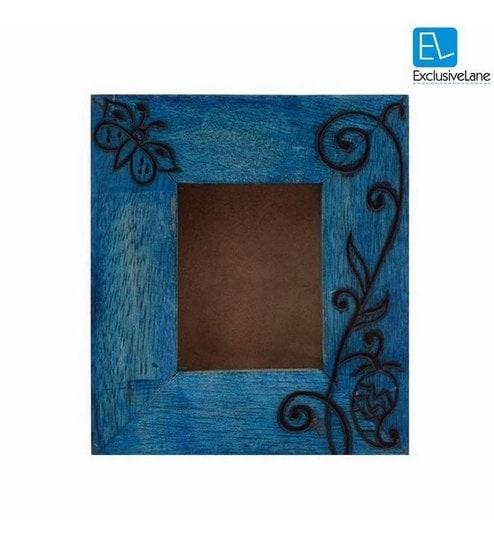 Buy ExclusiveLane Passport Size Engraved Blue Mango Wood Photo Frame ...