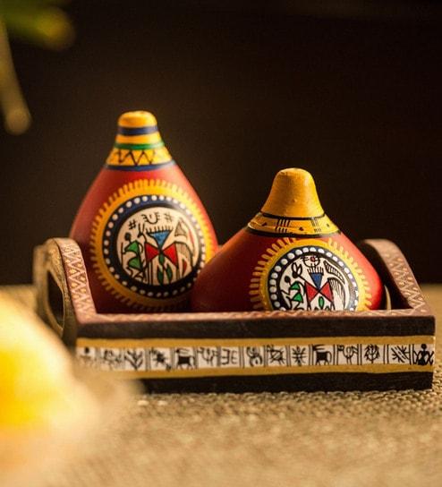 ExclusiveLane Terracotta and Mango Wood Warli Handpainted Salt & Pepper Shaker with Tray